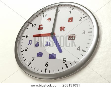 Watch hanging on a wall with 2 different time zones nine to five for work and 5 to 9 for life with related icons work-life balance concept 3D illustration