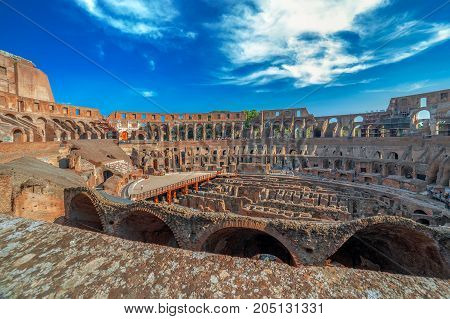ROME ITALY - MAY 30 2017: Arena Coliseum at evening time with tourists inside.