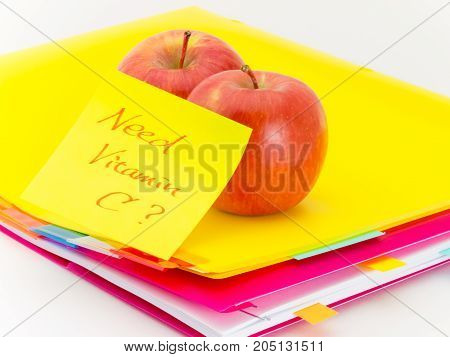 Office Documents And Apples; Need Vitamin C