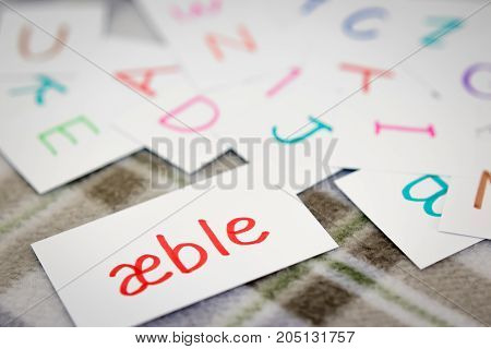 Danish; Learning The New Word With The Alphabet Cards; Writing Apple