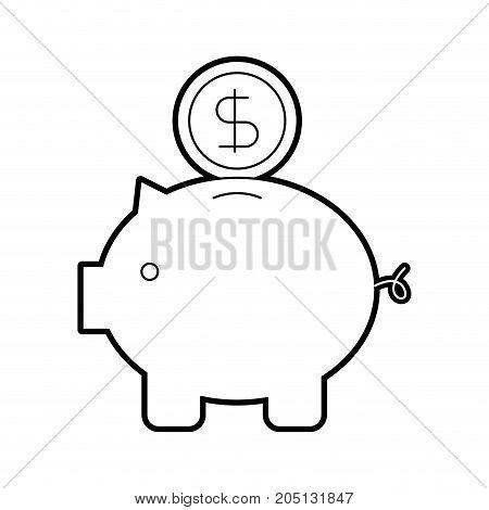 piggy coin dollar money bank safety investment symbol vector illustration