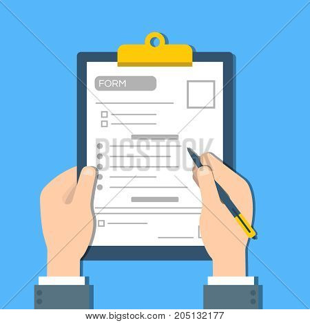 Man fills the form of document. Human hands hold the clipbord with form. Top view Vector flat illustration.