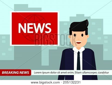 News Anchor on TV Breaking News background. Man in suit and tie. Cool vector illustration in flat design.