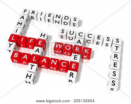 Crossword puzzle made from red and white cubes with work life balance keywords health and career concept 3D illustration