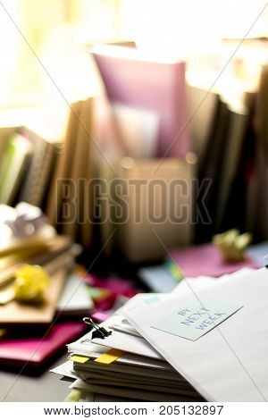 By Next Week; Stack Of Documents. Working Or Studying At Messy Desk.