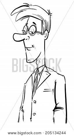 Black And White Young Businessman Drawing