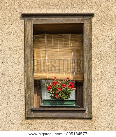 Image of a beautiful window with a wooden blinds and red flowers.
