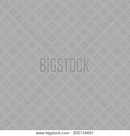 Seamless perforated square pattern texture background - spatial geometrical vector graphic from negative diagonal square shaped holes with shadow effect