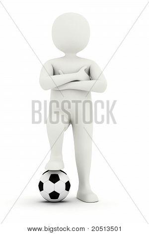 3D Man Holding Foot On Soccer Ball