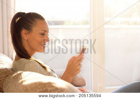Woman Typing On Mobile Phone In Living Room