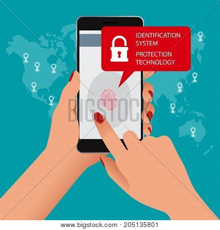 Fingerprint scanner, Identification system, Protection technology concept. Vector illustration of mobile phone security, cellphone personal access via finger, user authorization, login.