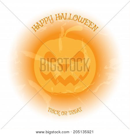 Halloween vector poster with yellow pumpkin on the light background with pattern of cracked paint