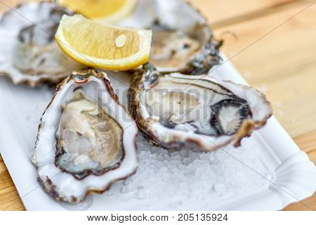 Tasty Fresh Oysters With Sliced Juicy Lemon On Plate. Aphrodisia