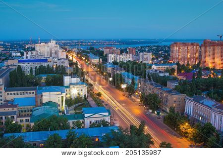 Evening summer Voronezh aerial cityscape. View to street of the 20th anniversary of October