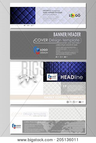 Social media and email headers set, modern banners. Abstract design template, vector layouts in popular sizes. Shiny fabric, rippled texture, white or blue silk, colorful vintage style background