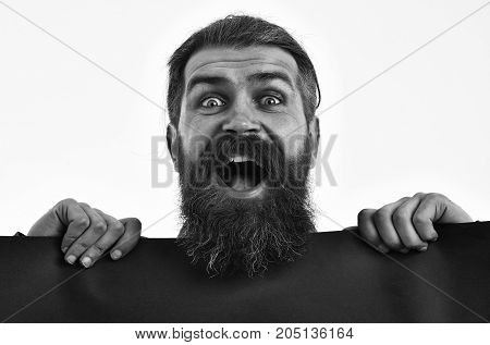 Happy Bearded Man Hipster With Red Paper Isolated On White