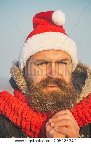 Christmas Man With Long Beard And Mustache On Face
