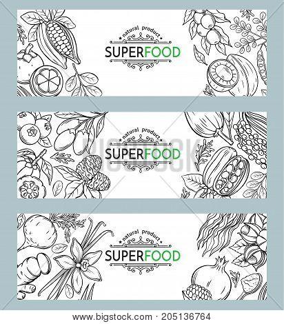 Vector illustration superfood berries and fruits banner template. Healthy detox natural product of camu camu, garcinia cambogia and maca. Carob, ginger, moringa, lucuma, coji berries, mangosteen, acai, guarana and noni.