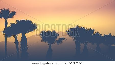 Retro Vintage Style Sunset Palm Trees Against A Desert Mountain Backdrop In Palm Springs USA