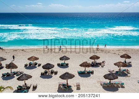 CANCUN MEXICO - MARCH 10: Activity on a beach in Cancun Mexico on March 10 2017