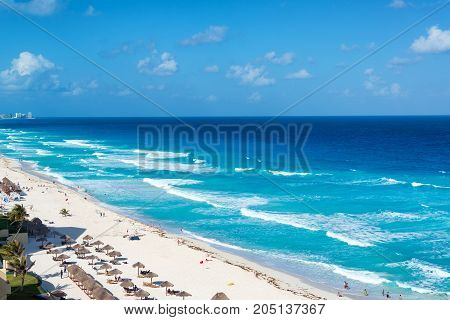 CANCUN MEXICO - MARCH 9: View of a beach in Cancun Mexico on March 9 2017
