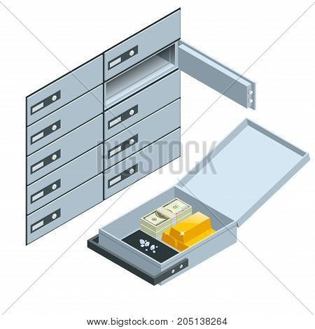Safe Deposit Boxes. Open safe deposit box with golden ingots. Financial banking investment concept. Vector isometric illustration