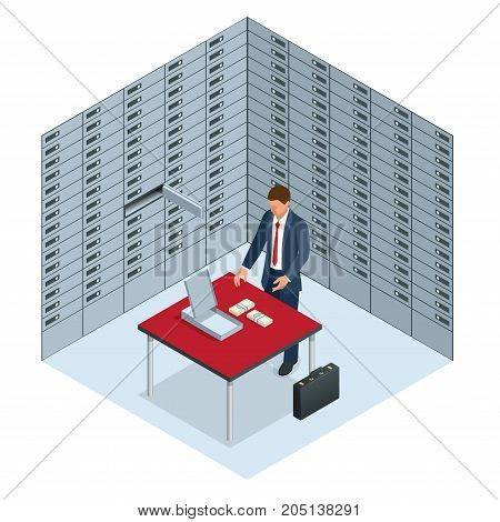 Safe Deposit Boxes and Security concept The man opened his banking cell and considers money Open safe deposit box with golden ingots Financial banking investment concept Vector isometric illustration.