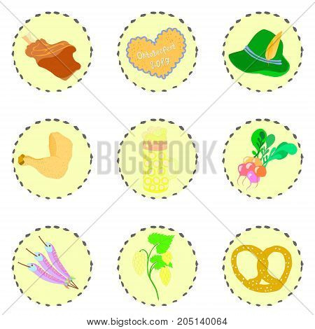 Set with Octoberfest Traditional Objects Placed on the Circular Substrates with Decorative Contour. Vector EPS 10