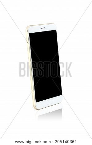Silver white modern smart phone isolated. Blank screen for mockup.