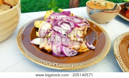 Traditional Romanian pork dish on a outdoor buffet