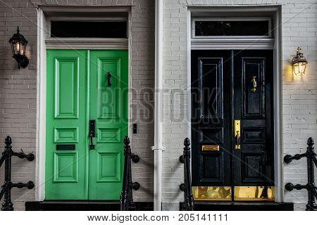 Interesting doors to contrasting historic homes in northern Virginia.