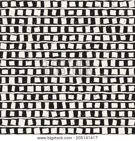 Hand drawn style ethnic seamless pattern. Abstract grungy geometric shapes background in black and white.