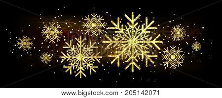 Golden glitter gorgeous snowflake. Luxurious christmas design element with golden glitter snowflake, golden dust and sparkles. Golden snowflake vector illustration.