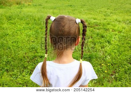Girl child with two pigtails looking in the field view from the back