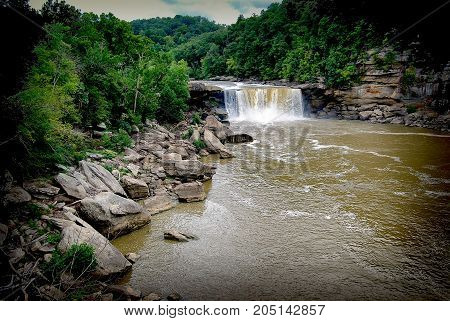 Scenic Cumberland Falls Near Corbin Kentucky In Spring