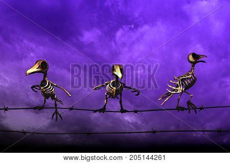 Halloween background. Skeleton birds. blue sky background.