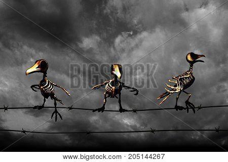 Halloween background. Skeleton birds. Black and white background.