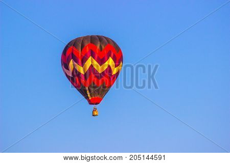 Multi Colored Hot Air Balloon In Early Morning