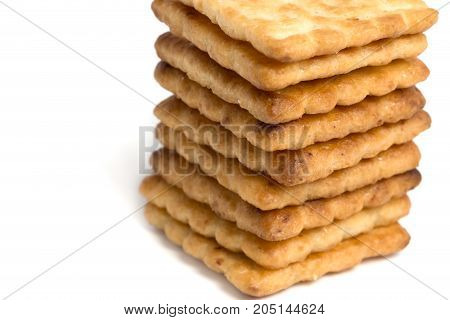 Close Up Stacked Sugar Crackers Biscuit On White Background