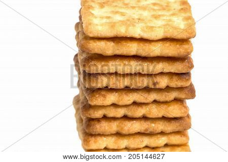 Close Up Stacked Of Crackers On White Background