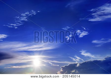 Bright dramatic sunset sky with sun. Outdoors background