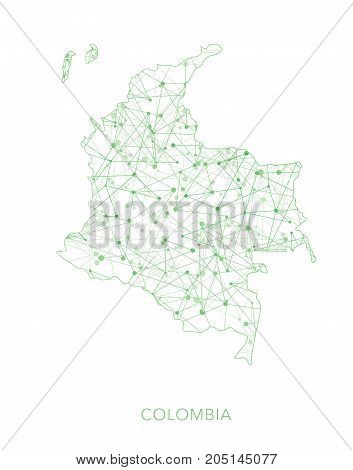 Colombia map, green dotted net vector background, abstract pattern