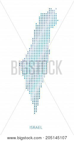 Israel map, dot vector background, abstract pattern