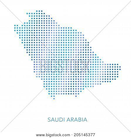 Saudi Arabia map, dot vector background, abstract pattern