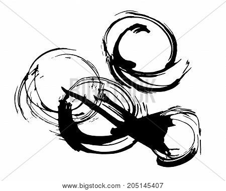 Abstract ink painting, artistic black circles vector pattern isolated