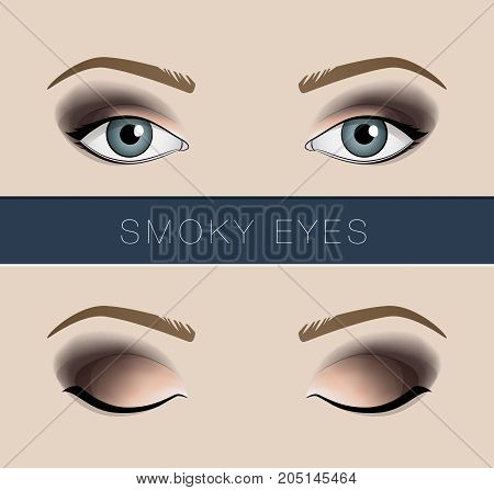 Smoky eyes makeup vector fashion beauty template