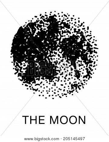 moon dot vector illustration, hand drawn style