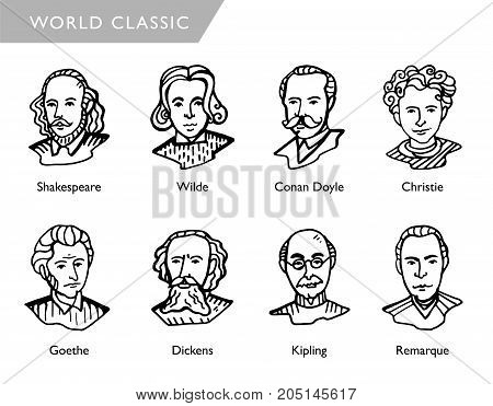 most famous world writers, vector portraits, Shakespeare, Wilde, Conan Doyle, Christie, Goethe Dickens Kipling Remarque