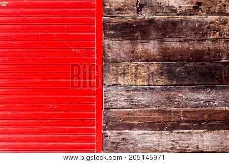 The Shape Of Red Walls And Wooden Walls.