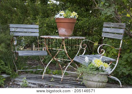 An old metal patio set rusting away